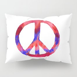 Patriotic Peace Sign Tie Dye Watercolor Pillow Sham