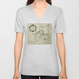 Map of the Great Lakes Region, North America (1784) Unisex V-Neck