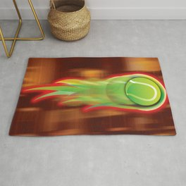 Tennis Ball on Fire Rug