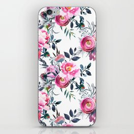 Modern hand painted blush pink yellow gray watercolor floral iPhone Skin