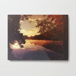 Early morningsun- Forest Sun Lake Trees Metal Print