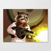rocket racoon Canvas Prints featuring Rocket Racoon by mikekimart