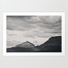 Mountain Peak and Plateau Black and White Art Print