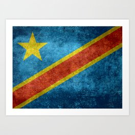 National flag of the Democratic Republic of the Congo, Vintage version (to scale) Art Print