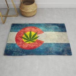 Retro Colorado State flag with the leaf - Marijuana leaf that is! Rug