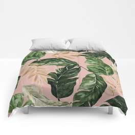 greenery and gold tropical leaves on faded pink Comforters