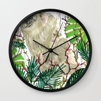 sloth Wall Clocks featuring Sloth by jo clark