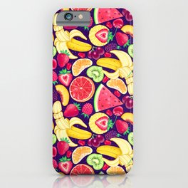 Fruit Cocktail on Blue iPhone Case