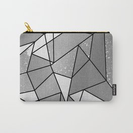 Cool Modern Black Gray Distressed Geometric Pattern Carry-All Pouch