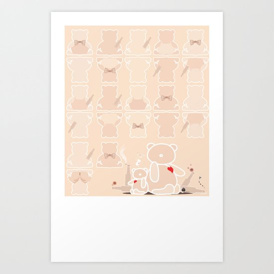 My wild night with teddy bear Art Print