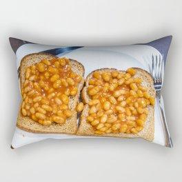 Baked beans on toast on white plate Rectangular Pillow