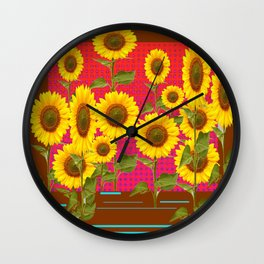 BROWN SUNFLOWER FIELD SAFFRON GRAPHIC ART Wall Clock