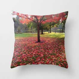 Red Maple Tree Throw Pillow