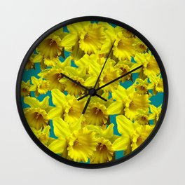 YELLOW SPRING DAFFODILS ON TEAL COLOR ART Wall Clock