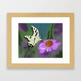 Butterfly and flower Framed Art Print