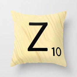 Scrabble Z Initial - Large Scrabble Tile Letter Throw Pillow