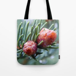 Tiny Red Pine Cones Tote Bag