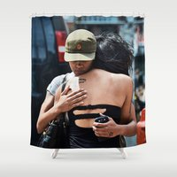 hug Shower Curtains featuring Hug by Jimmy Duarte