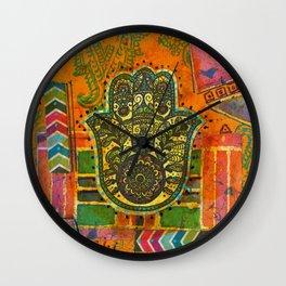 Boho & Batik Hamsa Wall Clock