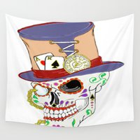 steam punk Wall Tapestries featuring Steam Punk Sugar Skull by J&C Creations