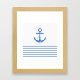 AFE Dark Blue Nautical Anchor Framed Art Print