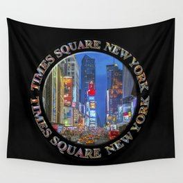 Times Square Broadway New York Badge Emblem (on black) Wall Tapestry