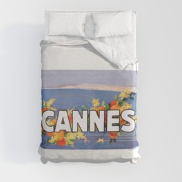 France 1930 Cannes French Riviera Travel Poster Duvet Cover