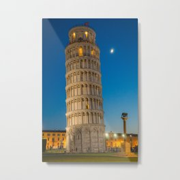 Pisa tower at night Tuscany Italy Metal Print
