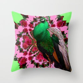 STATELY GREEN PEACOCK PINK-RED ROSES ABSTRACT Throw Pillow
