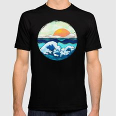 Stormy Waters Black Mens Fitted Tee MEDIUM