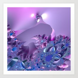 Stormy fractal waters and the lighthouse Art Print