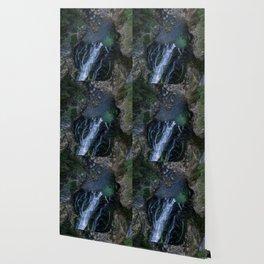 königssee waterfall alps bayern forrest drone aerial shot nature wanderlust vertical lake pool Wallpaper