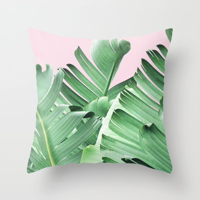Banana leaves, Leaf, Plant, Modern, Wall Art, Tropical Throw Pillow by juliasprints Society6