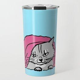 outside the bed is dangerous-Siberian cat Travel Mug