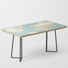 "Cream, brown and muted teal world map, ""Jett"" Coffee Table"