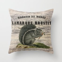 french country scripts fall autumn woodland animal grey squirrel Throw Pillow