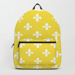Butter Yellow Southern Cottage Fleur de Lys Backpack