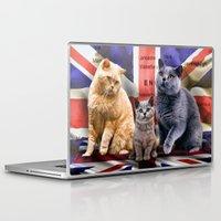 british flag Laptop & iPad Skins featuring British Shorthair by Selina Morgan