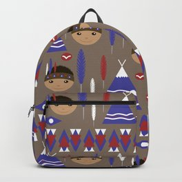 Seamless kids cute American indian native retro background pattern Backpack