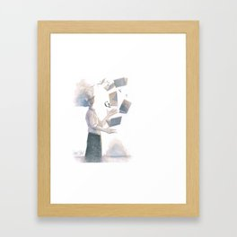 THE BOOK JUGGLER Framed Art Print
