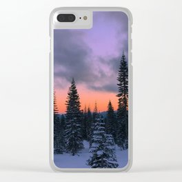 Mount Shasta Sunset Clear iPhone Case