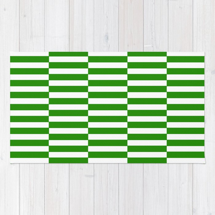 Strips - green and white. Rug