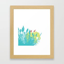 Pastel Symbiosis between Elephant and Bird Framed Art Print