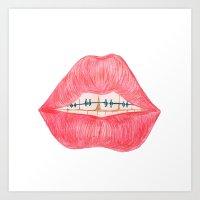 lip Art Prints featuring lip teeth by ArtSchool
