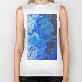Storm Surge Blue and Brown Fluid Acrylic Abstract Painting Biker Tank