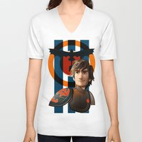 hiccup V-neck T-shirts featuring Train a Dragon by milanova
