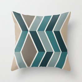 Mid Century Modern Diagonal Stripes Teal and Gold Throw Pillow