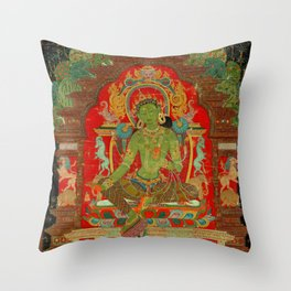 Green Tara, Tibet, 13th century Throw Pillow