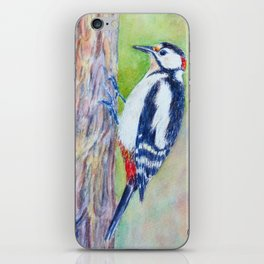Watercolor great spotted woodpecker iPhone Skin