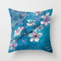 cherry blossoms Throw Pillows featuring Cherry Blossoms by Spinning Daydreams